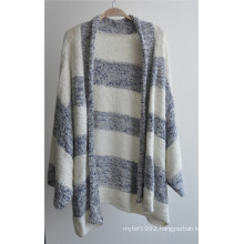 Cotton Acrylic Ladies Sweater Striped Cardigan